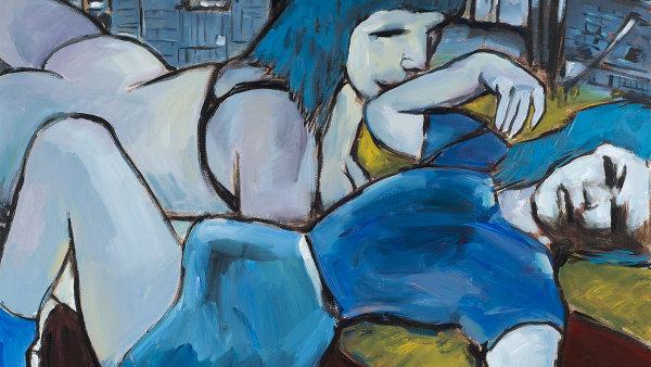 Na snímku je olejomalba Boba Dylana z roku 2010 zvaná Dvě sestry.