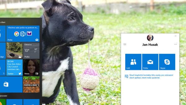 Součástí nové verze Windows je i funkce Lidé, která umožní připnout vybrané kontakty na hlavní panel. Možnosti komunikace jsou ale omezené na mail či Skype.