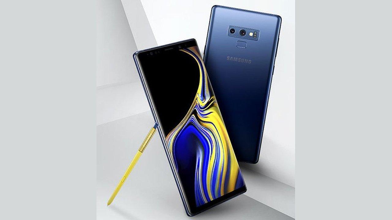 Galaxy Note 9 na uniklém obrázku ukazuje modrou barvu těla a žlutý stylus