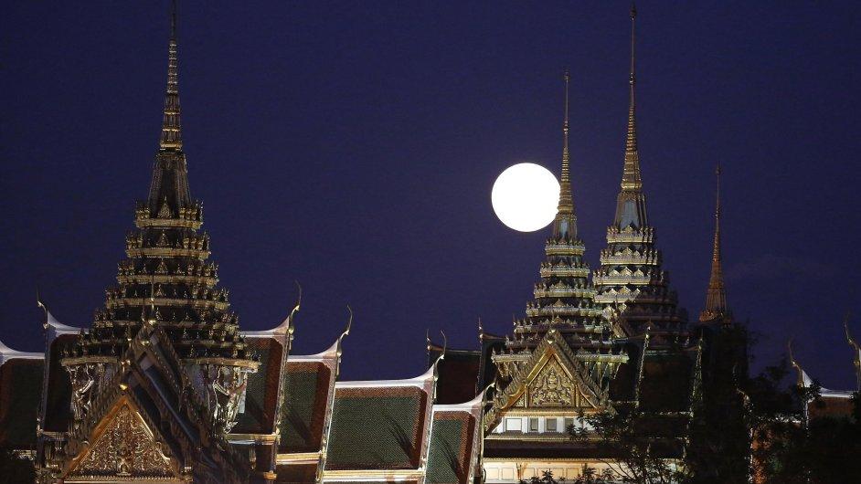 Úplněk, měsíc, Bangkok, královský palác