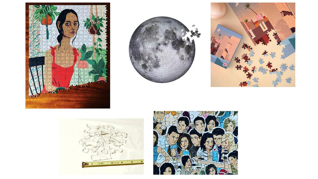 Ilustrace od Bijou Karman, Inner Piece, 30 dolarů; Měsíc, Four Point Puzzles, 24.95 dolarů; La Muralla Roja, Slow Down Studio 35 dolarů; Průhledné puzzle, Little Flower Pot Shop 661 korun; Přátelé, Smith...