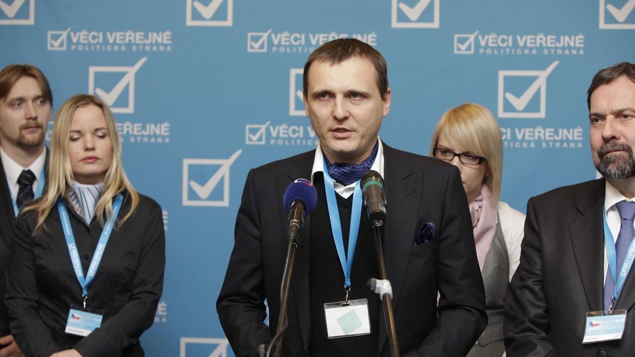 Vít Bárta, Kateřina Klasnová a Radek John během ideové konference strany Věci veřejné, 11. 12. 2010