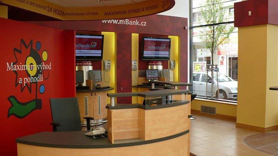 Interiér finančního centra mBank