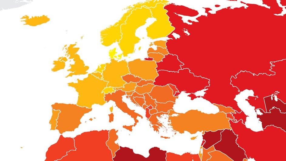 Mapa podle indexu vnímání korupce zpracovávaného Transparency International