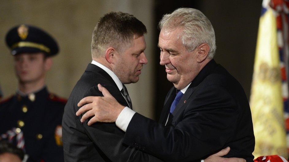 Slovenský premiér Robert Fico a český prezident Miloš Zeman