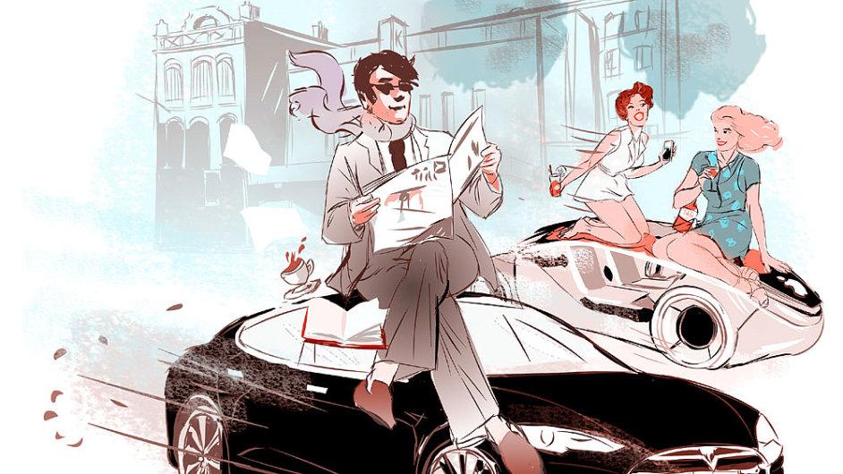 Auta na křižovatce - ilustrace.