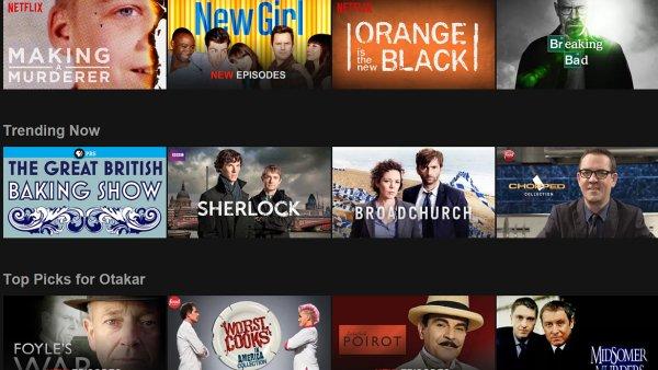 Netflix v podobě, v jaké jej vidí uživatelé USA