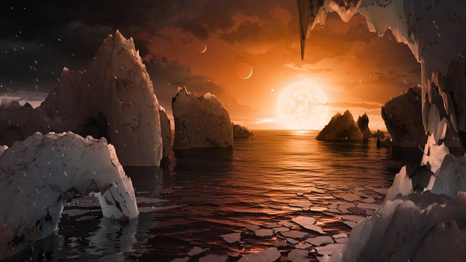Ilustrace jak by mohl vypadat povrch planety TRAPPIST-1f.