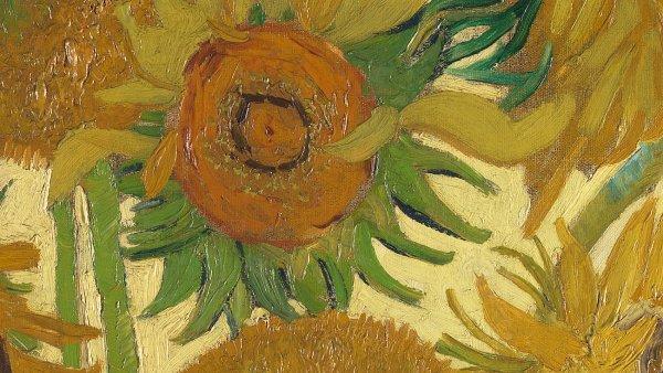 Na snímku je detail obrazu Slunečnice od Vincenta van Gogha, který má ve sbírkách Národní galerie v Londýně.