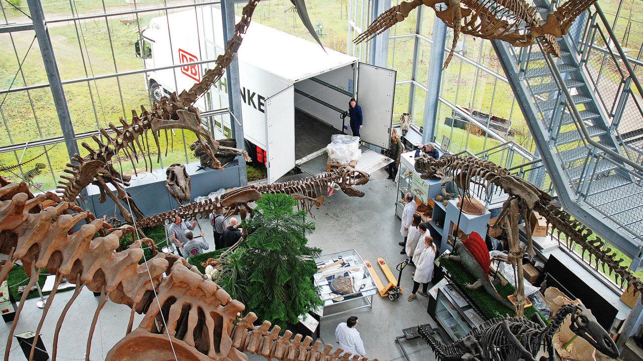 Největší kusy obsahující vzácné fosilie technici zabalili před transportem doochranných fólií apevně přivázali kpaletám.