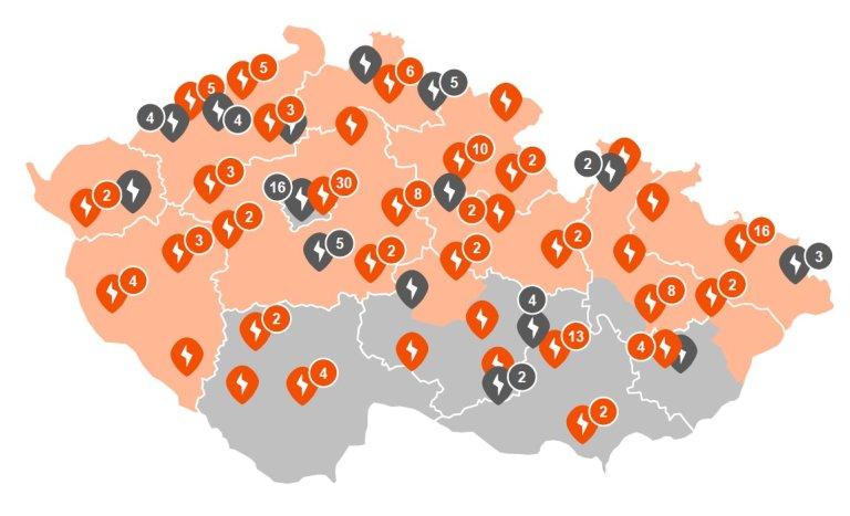 mapa dobíjecích stanic ČEZ