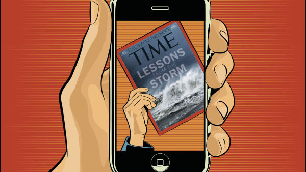 Časopis Time s titulní stránkou nafocenou mobilním telefonem