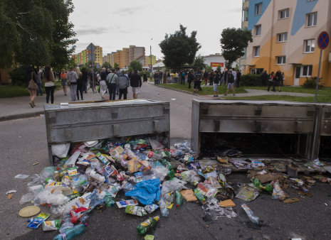 Demonstrace proti Romům na sídlišti Máj v Českých Budějovicích