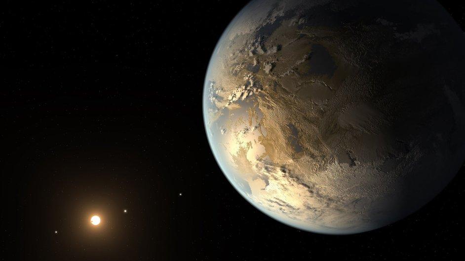 Planeta Kepler-186f, na které by se mohla nacházet voda v kapalném skupenství.