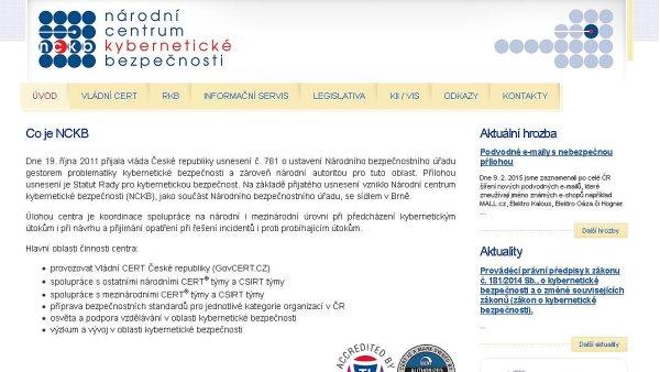 Printscreen webu Národního centra kybernetické bezpečnosti
