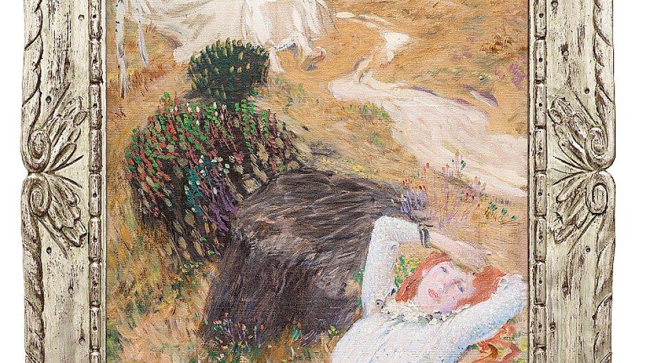 Na snímku je detail z obrazu Jana Preislera nazvaného Tři dívky v lese.
