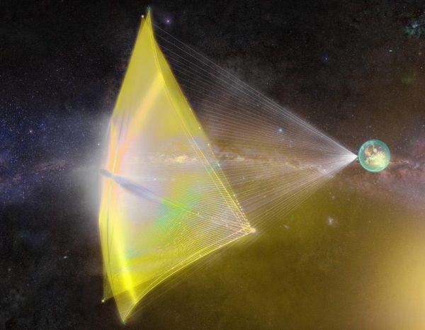 Sluneční plachetnice: Nanoloď, kterou stvořil mezinárodní tým vědců založený Stephenem Hawkingem, bude vevesmíru urychlovaná laserovým paprskem.