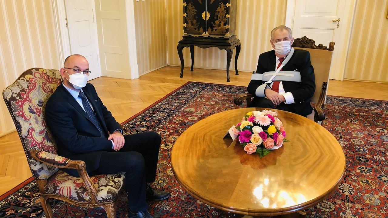 Prezident Miloš Zeman a kandidát na ministra zdravotnictví Jan Blatný.