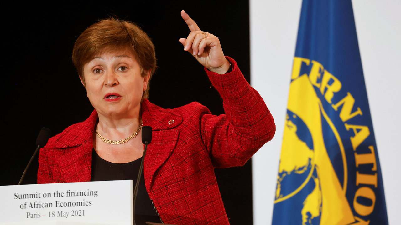 International Monetary Fund (IMF) Managing Director Kristalina Georgieva speaks during a joint news conference at the end of the Summit on the Financing of African Economies in Paris