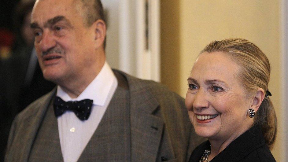 Hillary Clintonová na setkání s Karlem Schwarzenbergem