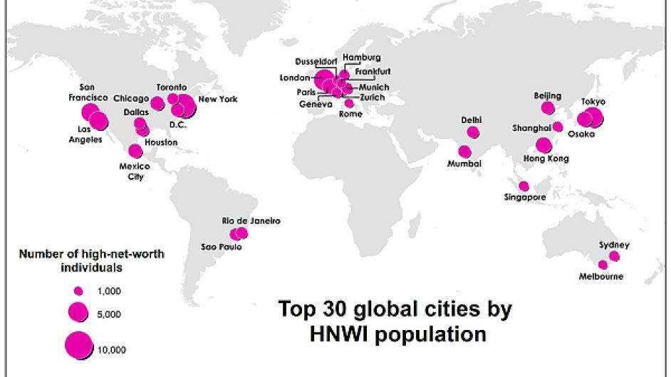 Mapa měst nejbohatších lidí světa