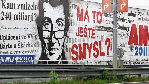 Jeden z předvolebních billboardů hnutí ANO