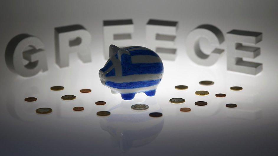Pokladnička v barvách řecké vlajky