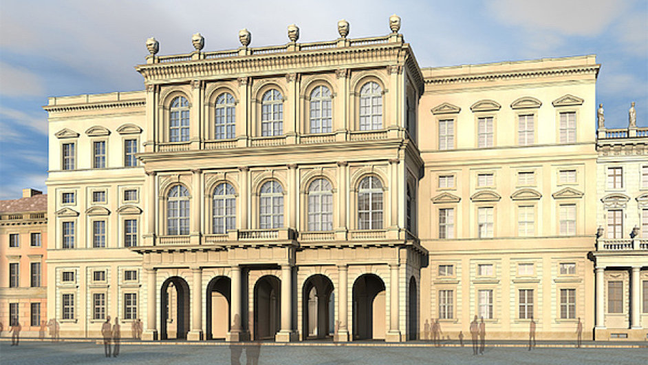 Návrh budovy muzea Barberini, která nyní opět vzniká v Postupimi.
