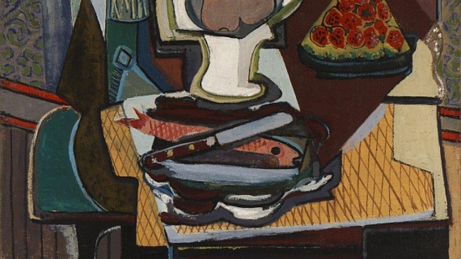Emil Filla: Zátiší s rybou a jahodami, 1925, vyvolávací cena 4,5 milionu korun, prodáno za 7,6 milionu korun