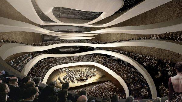 Vizualizaace nového komplexu Sinfonia Varsovia ve Varšavě