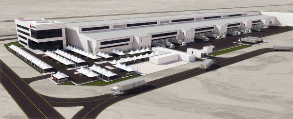 Vizualizace velké logistického centra DB Schenker v Dubaji