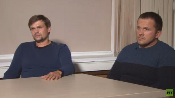 Dva podezřelí z útoku na agenta Sergeje Skripala při rozhovoru s ruskou státní televizí RT.