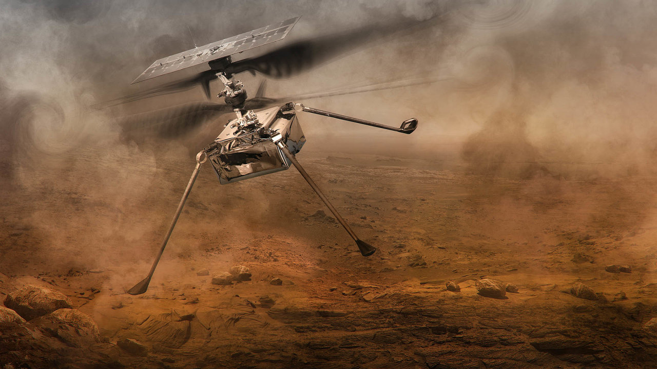 Let narudé planetě. Smisí Perseverance přistane naMarsu ivrtulník Ingenuity, který má vyzkoušet, zda lze naMarsu létat pomocí vrtule.