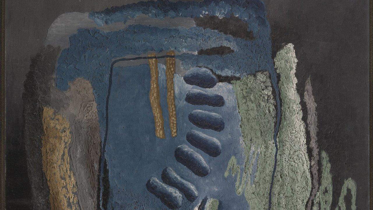 Obraz Fjordy pochází zroku 1928, kdy Toyen rozvíjela artificialismus, styl, který vytvořila sJindřichem Štyrským.