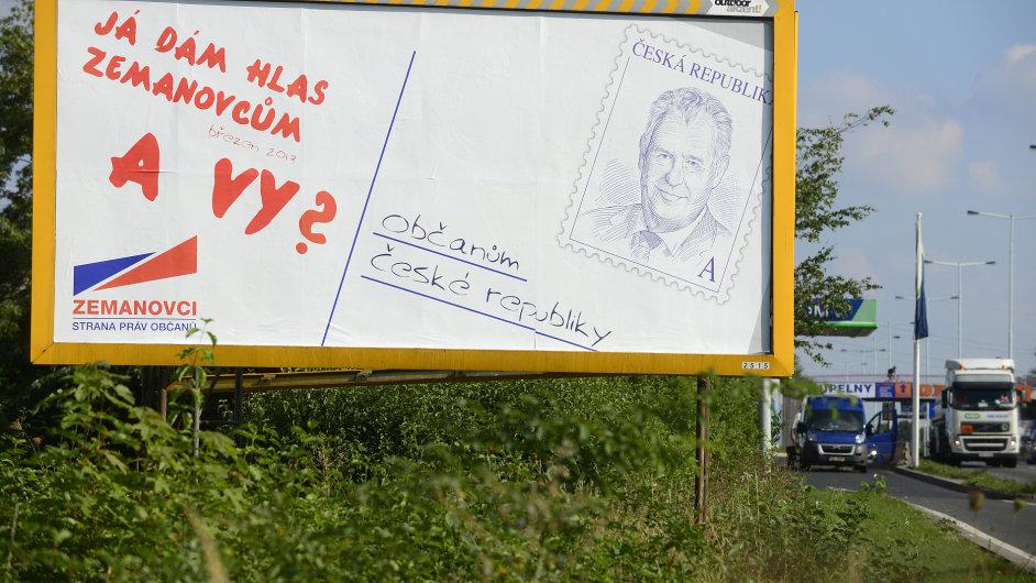 Miloš Zeman na billboardu SPOZ