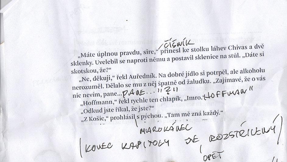 Údajný rukopis knihy Chaima Cigana s poznámkami Vlasty Třešňáka