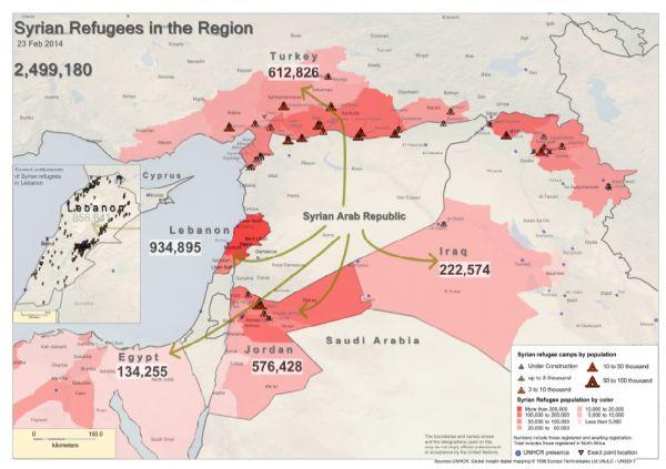 Počty syrských uprchlíků do okolních zemí k 23. únoru 2014