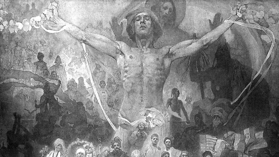 Muchův obraz Apoteóza z dějin Slovanstva přemaluje David černobíle.