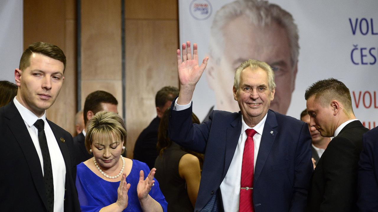 Prezident Miloš Zeman po svém znovuzvolení.