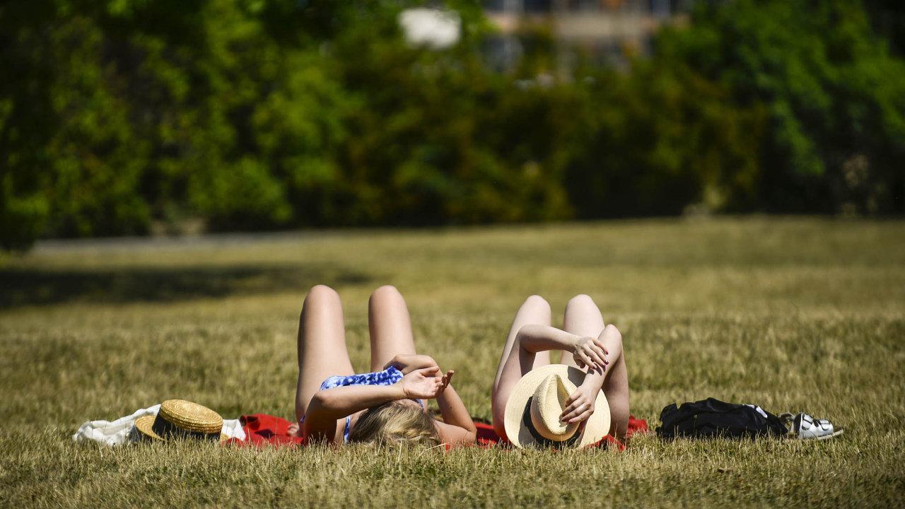 Naspálené trávě. Iveměstech jsou zelené plochy vhodné keslunění, ikdyž vpravdě zelená tráva nanich není.