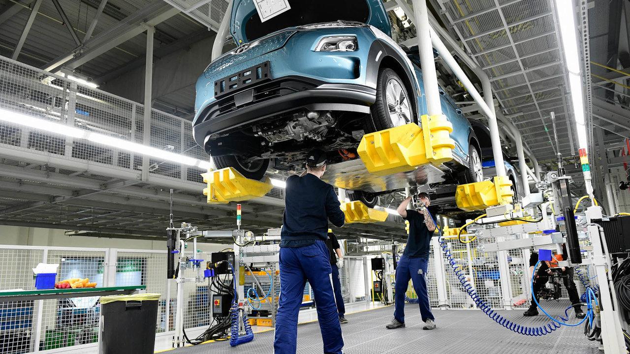 První elektromobil: Vbřeznu se vnošovickém závodu Hyundai začal vyrábět vůz Kona Electric. Jde oprvní čistě elektrický vůz vyráběný vČesku.