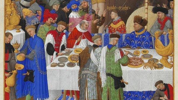 Takto nějak mohla vypadat hostina na dvorech mocných. Konkrétně jde o výjev z plátna nazvaného Přebohaté hodinky vévody z Berry.