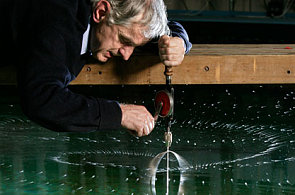 """Stephen Salter with his """"rainmaker"""" which is designed to produce rain clouds from sea water"""