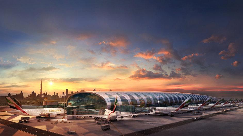 Terminál A dubajského letiště je domovem Airbusů A380 společnosti Emirates