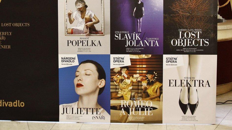 Na snímku plakáty k premiérám příští sezony Opery ND.