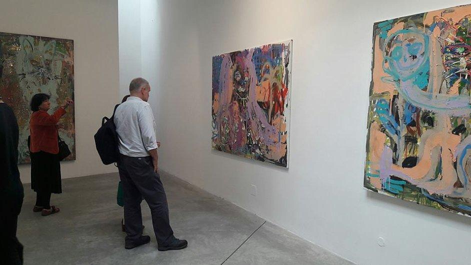Snímek z vernisáže výstavy Vladimíra Skrepla v pražské DSC Gallery.