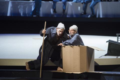 Snímek z inscenace Odysseova návratu do vlasti v Hamburské státní opeře.