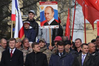 Oslavy pátého výročí ruské anexe Krymu ve městě Simferopol.