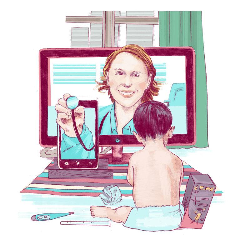 Telemedicína znamená zaprvé vyšetření nadálku, jež dá lékaři spíš jen vstupní informaci. Zadruhé jde o chytré přístroje, které hlídají třeba kardiaky a odesílají přes mobil informace o jejich stavu.
