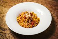 EK10 Spaghetti tenke alla chitarra s raj aty italskou slaninou chilli papri kami a s rem pecorino tif
